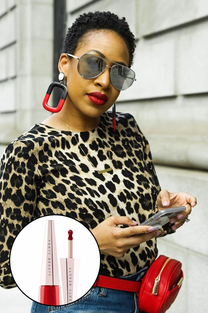 """Mattie James, [@themattiejames](https://www.instagram.com/themattiejames/?hl=en target=""""_blank"""" rel=""""nofollow"""") <br><br> """"I'm a red lipstick kind of girl and whenever I wear my Fenty Beauty Stunna Lip Paint, I turn heads. It's the ultimate red and stays on ALL DAY without drying your lips."""" <br><br> **Fenty Beauty Stunna Lip Paint, $36 at [Sephora](https://www.sephora.com.au/products/fenty-beauty-stunna-lip-paint-longwear-fluid-lip-color/v/uncensored target=""""_blank"""" rel=""""nofollow"""")**"""