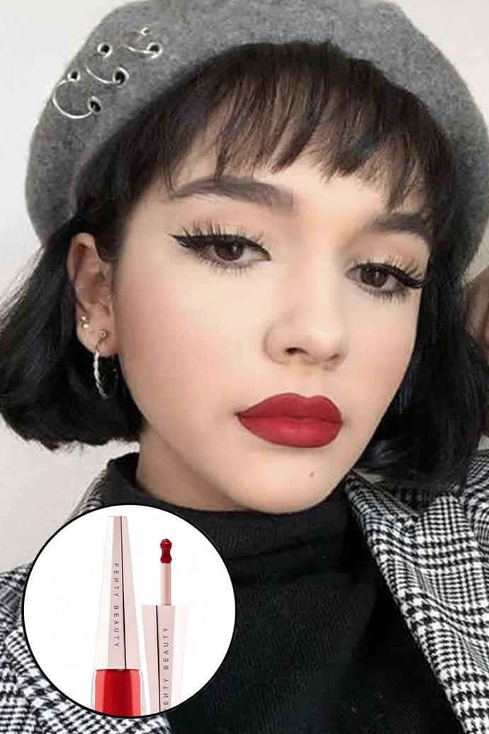 """Paloma Cordova, [@palomaxcordova](https://www.instagram.com/palomaxcordova/?hl=en target=""""_blank"""" rel=""""nofollow"""") <br><br> """"My favourite red lipstick is the Fenty Beauty Stunna Lip Paint. It's the perfect neutral, mid-tone red for my olive skin and not to mention it's super long-wearing."""" <br><br> **Fenty Beauty Stunna Lip Paint, $36 at [Sephora](https://www.sephora.com.au/products/fenty-beauty-stunna-lip-paint-longwear-fluid-lip-color/v/uncensored target=""""_blank"""" rel=""""nofollow"""")**"""