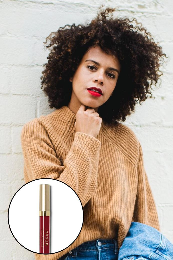 """Grasie Mercedes, [@grasiemercedes](https://www.instagram.com/grasiemercedes/?hl=en target=""""_blank"""" rel=""""nofollow"""") <br><br> """"I found my perfect red lipstick about six years ago—and it's still my favourite: Stila Liquid Lipstick in Beso is the best! It goes on like a liquid and dries matte. It stays on all day long and is the perfect cherry red."""" <br><br> **Stila Stay All Day Liquid Lipstick in Beso, $32 at [MECCA](https://www.mecca.com.au/stila/stay-all-day-liquid-lipstick-beso/I-014360.html target=""""_blank"""" rel=""""nofollow"""")**"""