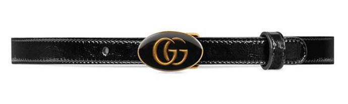 """Belt, $477 (approx.) at [Gucci](https://www.gucci.com/us/en/pr/women/womens-accessories/womens-belts/leather-belt-with-oval-enameled-buckle-p-5241170P5AT1000