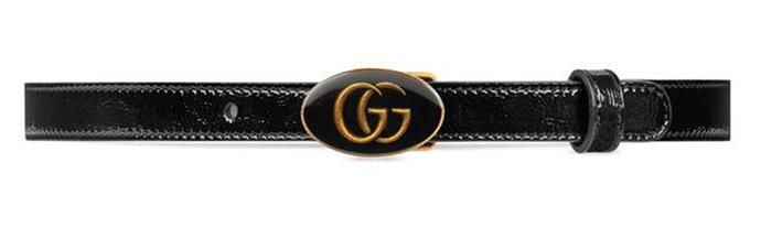 "Belt, $477 (approx.) at [Gucci](https://www.gucci.com/us/en/pr/women/womens-accessories/womens-belts/leather-belt-with-oval-enameled-buckle-p-5241170P5AT1000|target=""_blank""