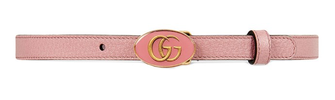 """Belt, $477 (approx.) at [Gucci](https://www.gucci.com/us/en/pr/women/womens-accessories/womens-belts/leather-belt-with-oval-enameled-buckle-p-524117DJ2QT5808?position=2&listName=VariationOverlay