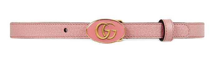 "Belt, $477 (approx.) at [Gucci](https://www.gucci.com/us/en/pr/women/womens-accessories/womens-belts/leather-belt-with-oval-enameled-buckle-p-524117DJ2QT5808?position=2&listName=VariationOverlay|target=""_blank""