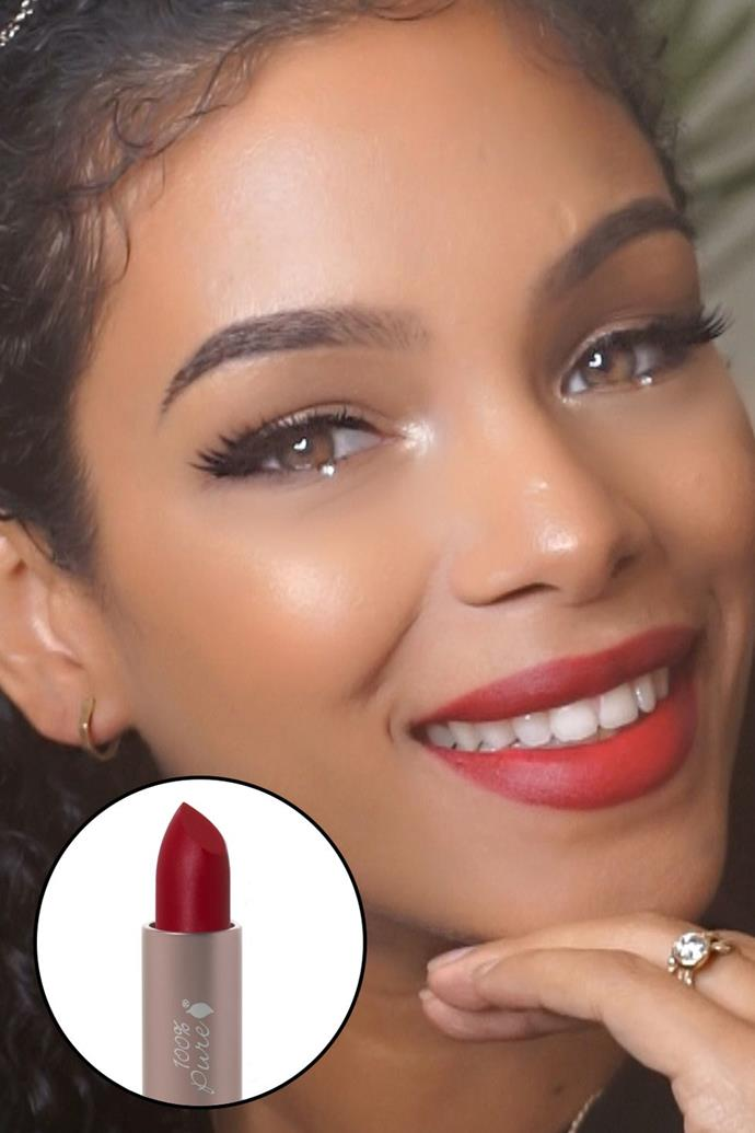 """Alba Ramos, [@sunkissalba](https://www.instagram.com/sunkissalba/?hl=en target=""""_blank"""" rel=""""nofollow"""") <br><br> """"As a woman of colour, I love playing with dark reds and burgundies but you can never go wrong with a classic red like this one. Here, I'm wearing Dr. Hauschka lipliner #02 and the 100% Pure Lipstick in Nopal, which is my favourite brand because it contains nourishing ingredients without toxins!"""" <br><br> **100% Pure Fruit Pigmented Cocoa Butter Matte Lipstick in Nopal, 29.95 at [Nourished Life](https://www.nourishedlife.com.au/organic-lipstick/1402827/100-pure-cocoa-butter-semi-matte.html target=""""_blank"""" rel=""""nofollow"""") <br><br> Dr. Hauschka Lip Liner - 02 Red Heart, $35 at [Nourished Life](https://www.nourishedlife.com.au/organic-lipstick/781241/dr-hauschka-lip-liner-02-red.html target=""""_blank"""" rel=""""nofollow"""")**"""