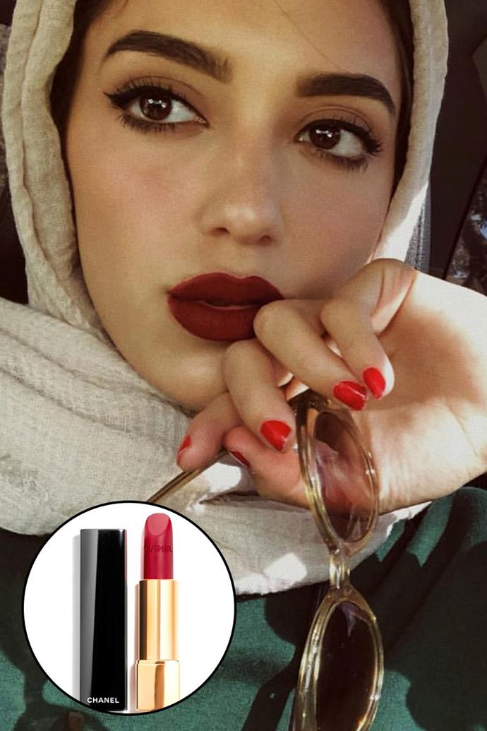 """Sally Ashour, [@sallyomo](https://www.instagram.com/sallyomo/ target=""""_blank"""" rel=""""nofollow"""") <br><br> """"[I] love this lipstick colour especially with a simple outfit. It just instantly gives me a bold look. I love a good red on my lips—I just think every girl looks so fierce and confident when they're wearing it."""" <br><br> **Chanel Rouge Allure Velvet Luminous Matte Lip Colour in #63 Nightfall, $58.95 at [Cosmetics Now](https://buy.cosmeticsnow.com.au/iteminfo/chanel-rouge-allure-velvet-no63-nightfall-3g target=""""_blank"""" rel=""""nofollow"""")**"""
