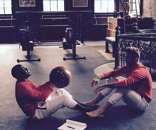 Kevin Hart and David Beckham's bromance extends to the gym, where the pair will happily spend an afternoon chucking around a medicine ball and chewing the fat.