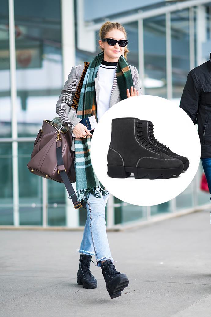 "Nubuck sneakers, $365, [iRi](https://irinyc.com/products/unisex-black-nubuck-boot|target=""_blank""|rel=""nofollow"")."