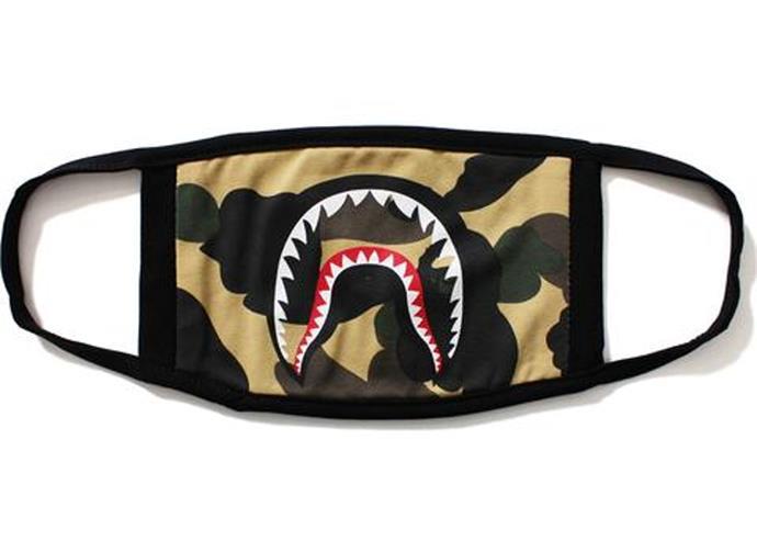 Camo Shark Mask Yellow, Bape, $107, **[shop now](https://stockx.com/bape-1st-camo-shark-mask-yellow?gclid=CjwKCAjw9-HZBRAwEiwAGw0QcaqYOVA4Pg9xPgAqW_RhJo0X95BDN2qnWX7PXyObFxCjG230mfBiZhoCZ5sQAvD_BwE&utm_source=af&utm_medium=rak&utm_campaign=2116208&ranMID=43272&ranEAID=2116208&ranSiteID=TnL5HPStwNw-TPsc31_JvnTA6EvEybXkeQ)**.