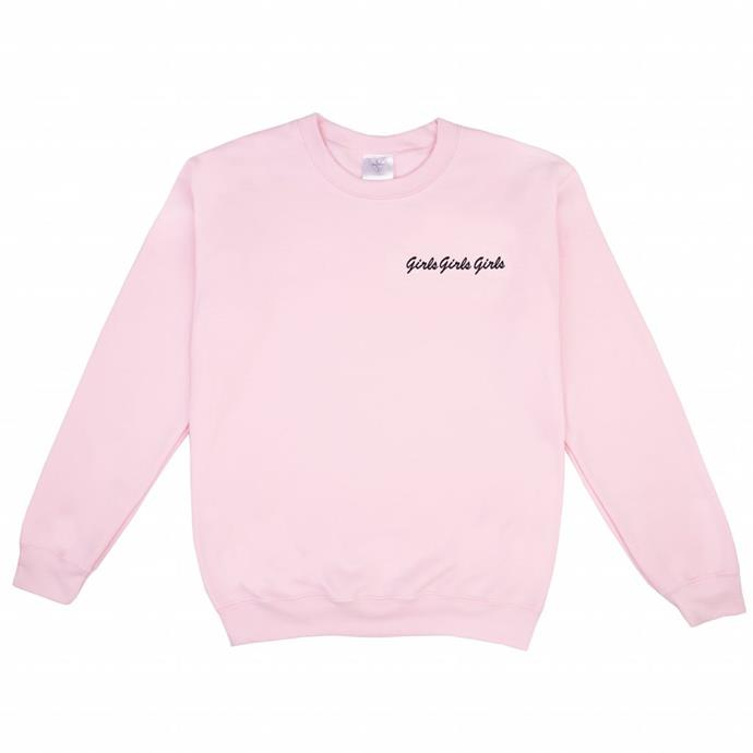 Girls Girls Girls Sweater, Double Trouble Gang, $175, **[shop now](https://doubletroublegang.com/product/girls-girls-girls-sweater/)**.