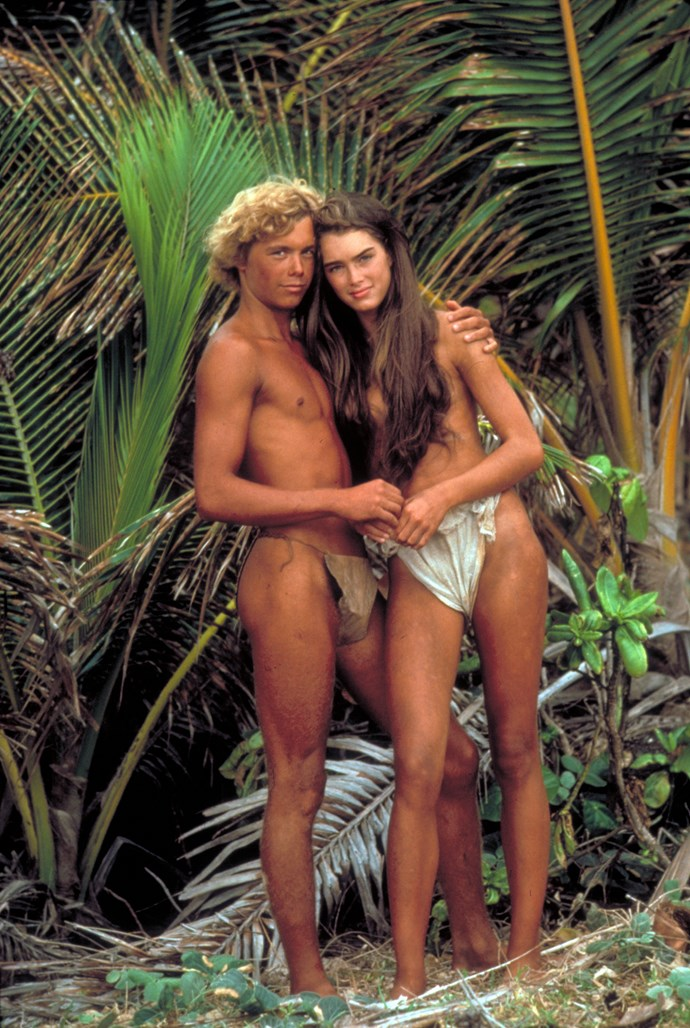 Brooke Shields with co-star Christopher Atkins in the 1980 film *The Blue Lagoon*.