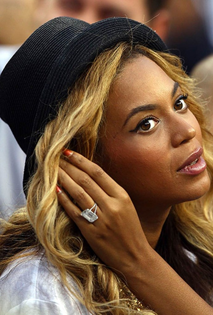 Beyoncé Knowles has a large diamond ring like Baldwin's, but hers differs with the two-prong band—which is probably essential to support those carats.