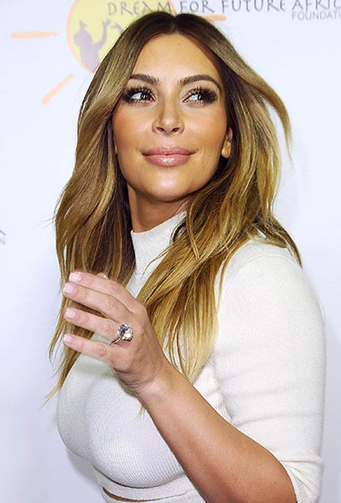 Before it was stolen in her tragic Paris robbery, the ring that Kanye West proposed to Kim Kardashian with was a massive 'floating diamond' on a simple band, much like Bieber's choice for Baldwin.