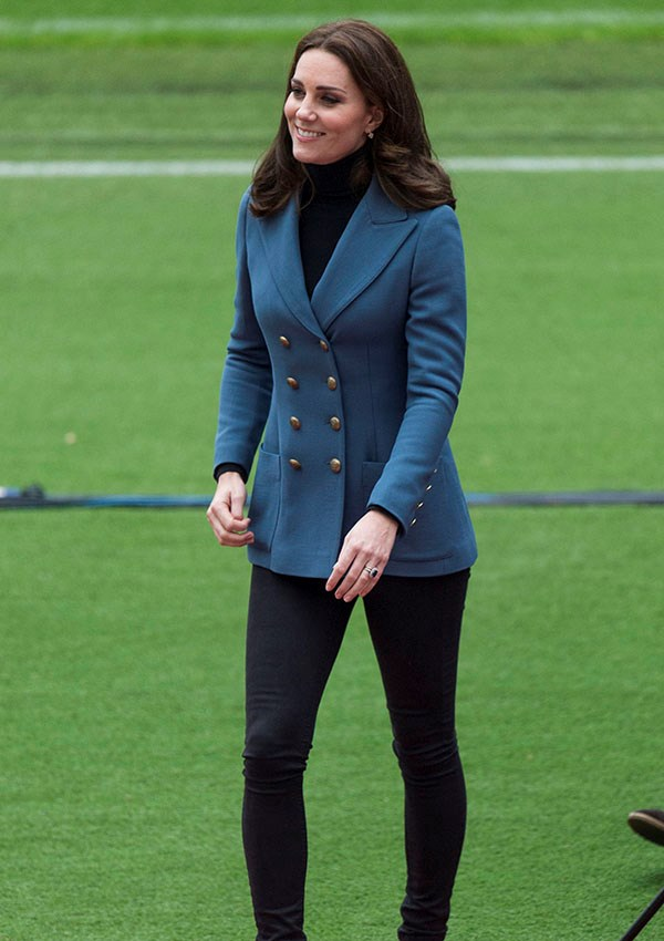 **CATHERINE, DUCHESS OF CAMBRIDGE** <br><br> In October 2017, Kate Middleton wore a blue Philosophy Di Lorenzo Serafini blazer while newly pregnant with Prince Louis. The Duchess also owns this blazer in red.