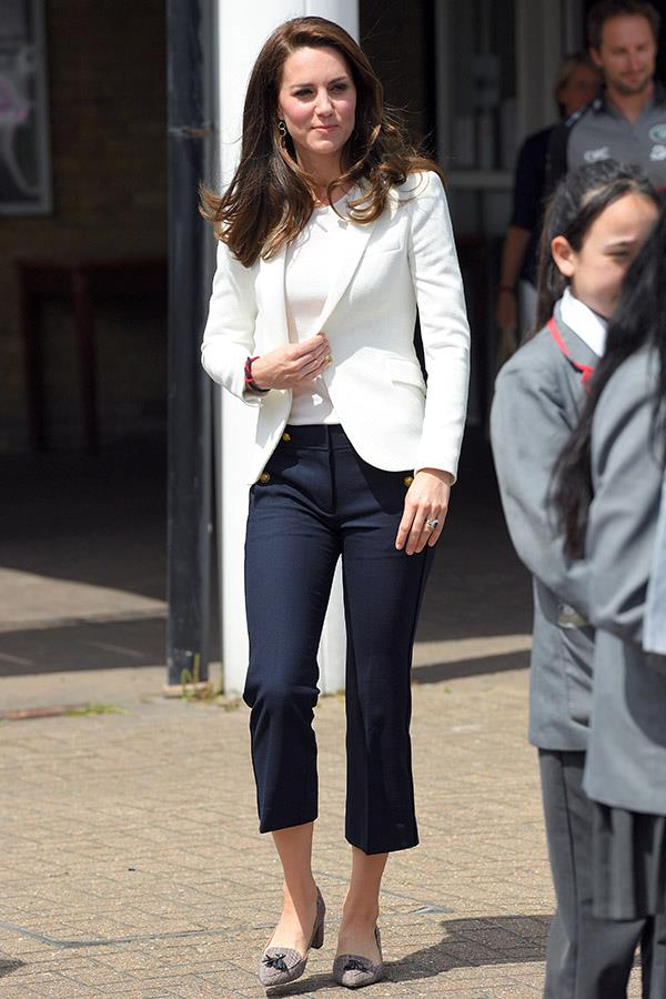 "**CATHERINE, DUCHESS OF CAMBRIDGE** <br><br> The Duchess of Cambridge wore this Zara blazer in 2016, which turned out to be one of her favourite (and [most affordable](https://www.harpersbazaar.com.au/fashion/brands-the-royal-family-put-on-fashions-map-15290|target=""_blank"")) pieces."