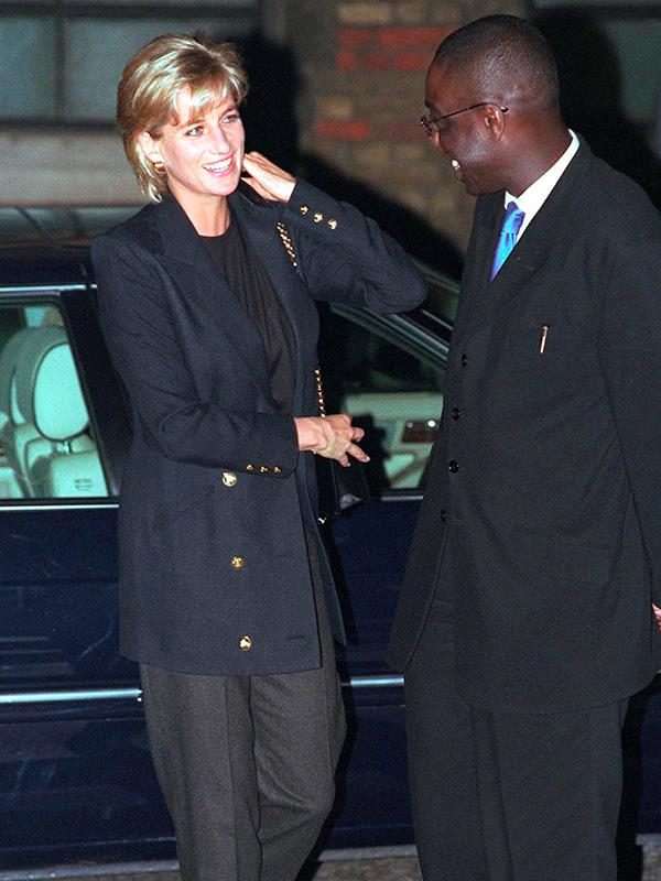 **DIANA, PRINCESS OF WALES** <br><br> After her divorce from Charles, Princess Diana was known for breaking *plenty* of fashion rules. Diana is pictured here in a casual suit at a fundraiser for homeless Londoners in March 1997, the year of her death.