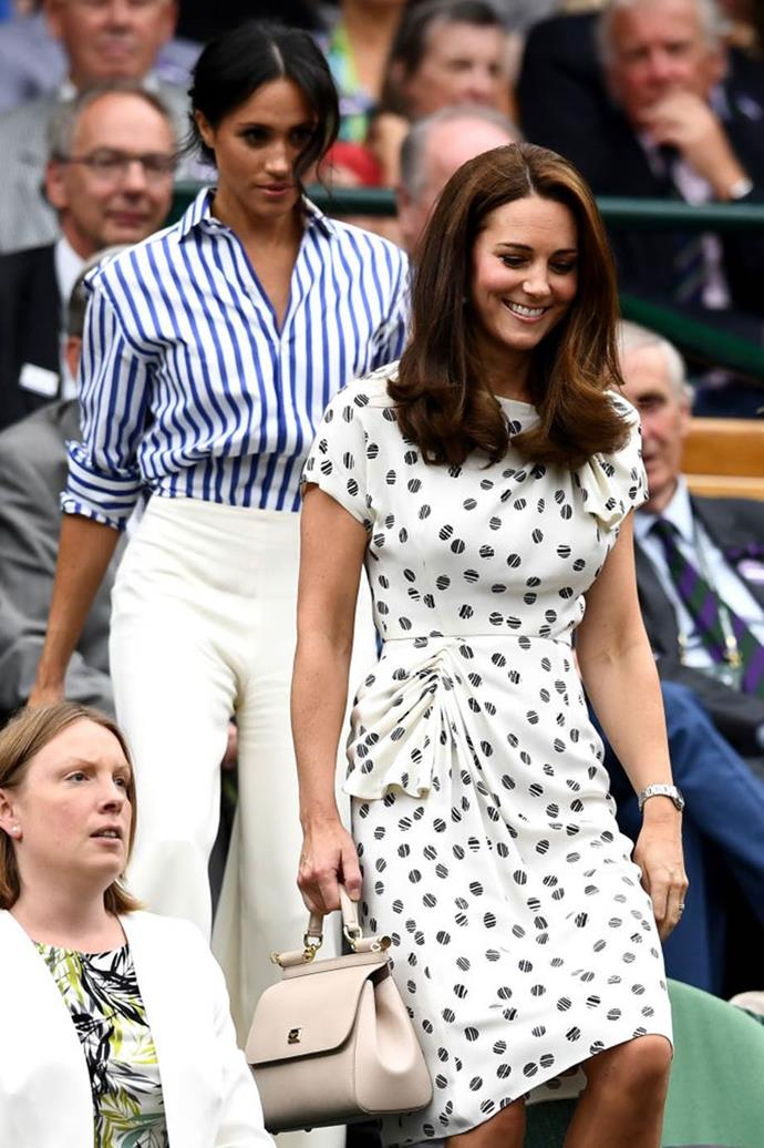 Meghan Markle, The Duchess of Sussex, with Catherine, The Duchess of Cambridge (AKA Kate Middleton)