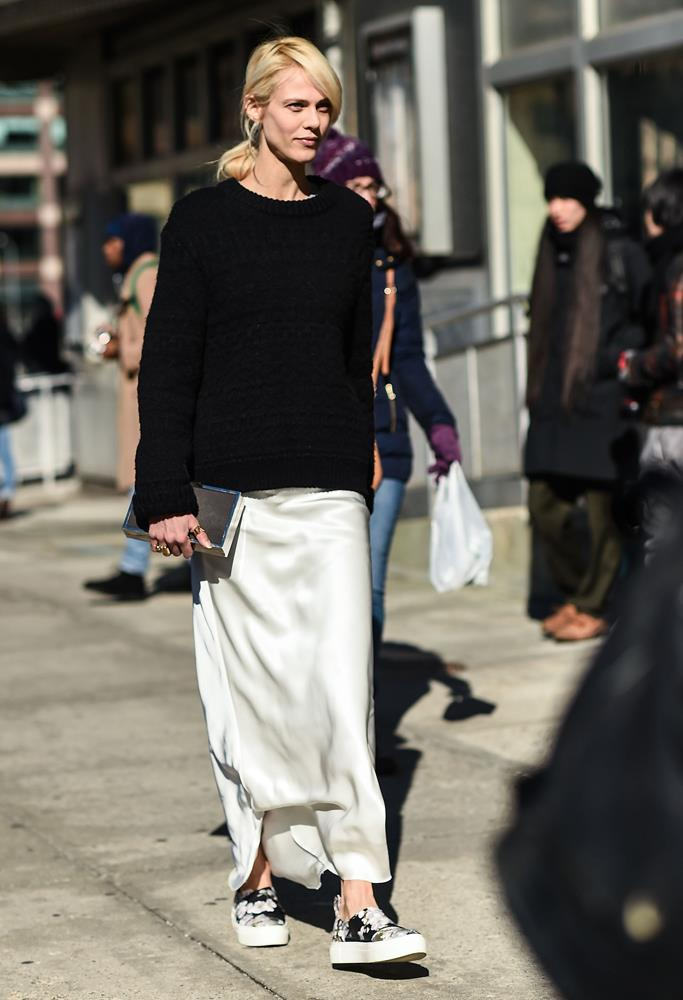 ***Silk slips aren't just for winter***<bR><bR> If you lamented shelving your silk slips when summer passed, Aymeline Valade is here to show that, yes, they can be transitioned. Just add your favourite oversized sweater and kicks.