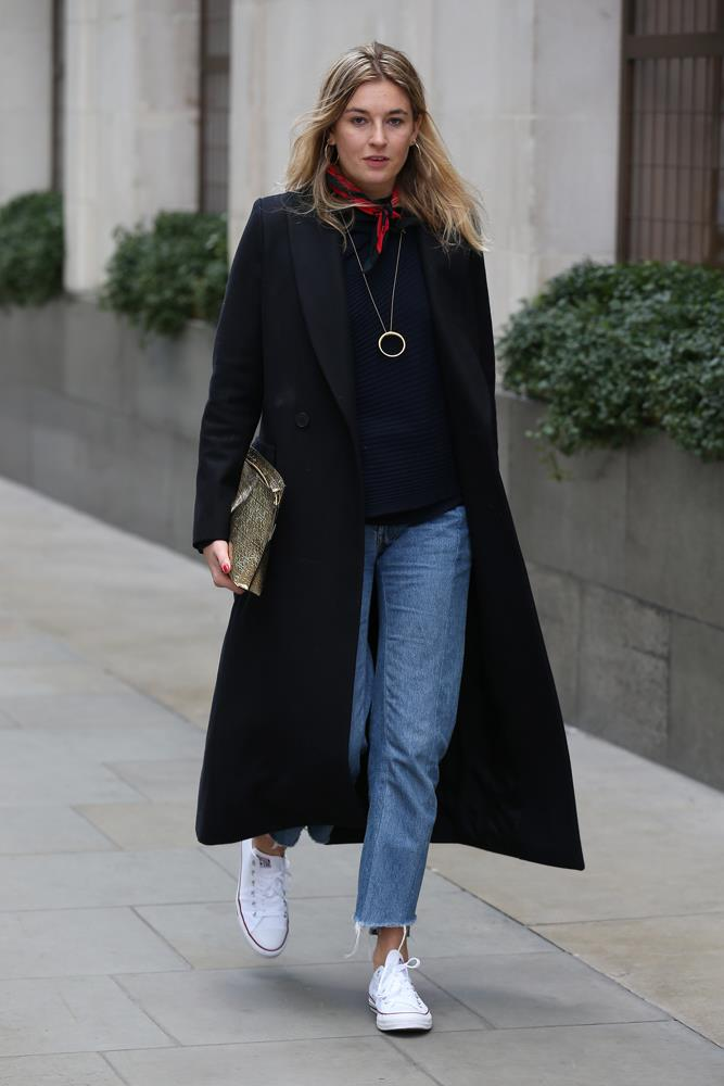 ***Try a different take on the scarf***<br><br> If you're in need of an extra layer, but the thought of a woolly scarf isn't enticing, adding a silk scarf or bandanna around your neck is the happiest of mediums. Camille Charriere demonstrates.