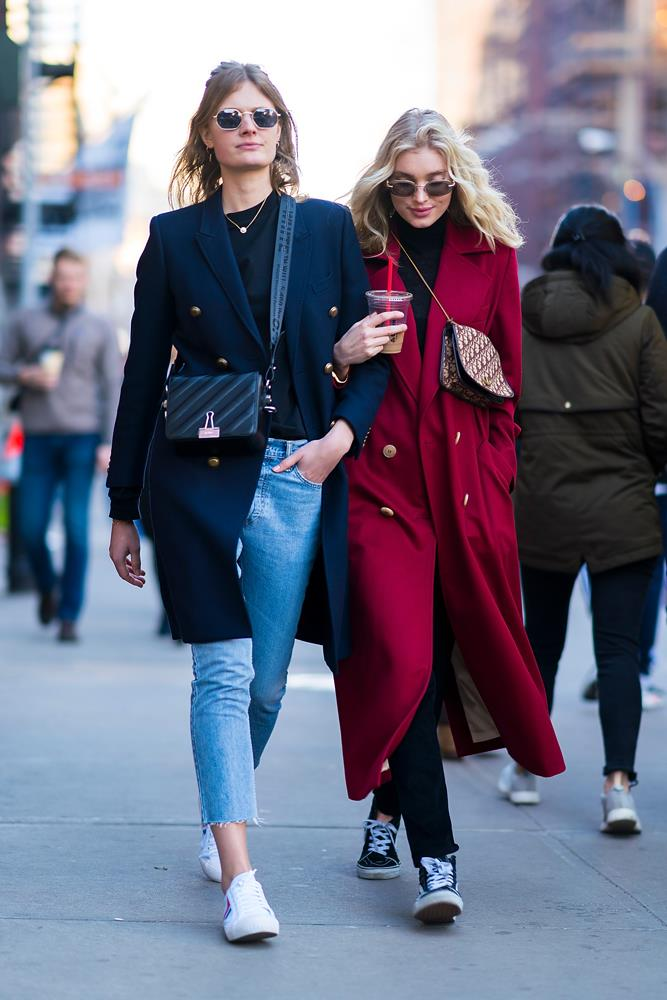 ***Never underestimate the power of blue jeans***<br><br> Whether they're skinny, cropped or flared, French girls (like Constance Jablonski, left) know that blue jeans are the perfect winter-outfit base. Rug yours up with a smart blazer-coat, a cashmere sweater and your favourite white kicks.