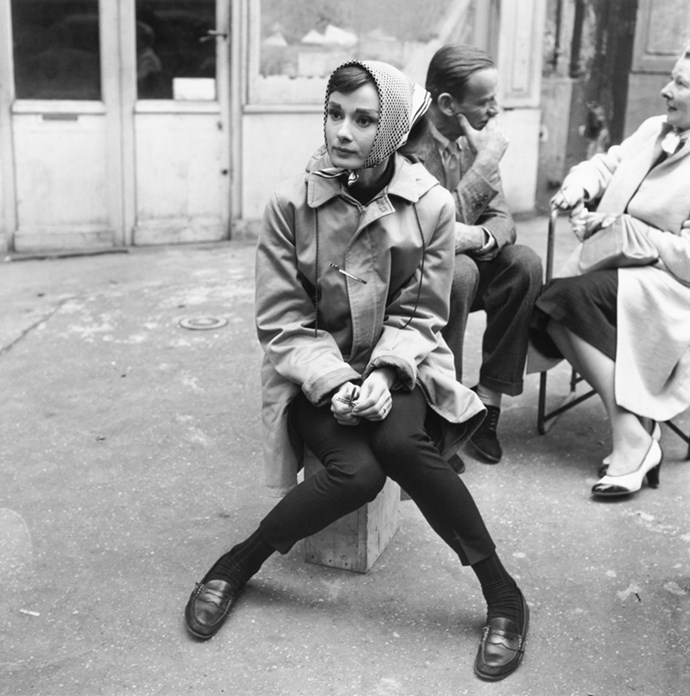 Audrey Hepburn in Paris on the set of *Funny Face*, 1956