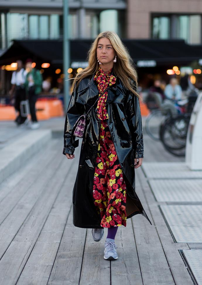 ***Wear under a heavy-duty coat***<br><br> With winter in full swing, we've got all the coats we can handle. From short and belted, to fitted dusters, our coat-game is (metaphorically) strong, so why not use it to transition a summer dress? Emili Sindlev pairs hers with a pussy-bow neck iteration.