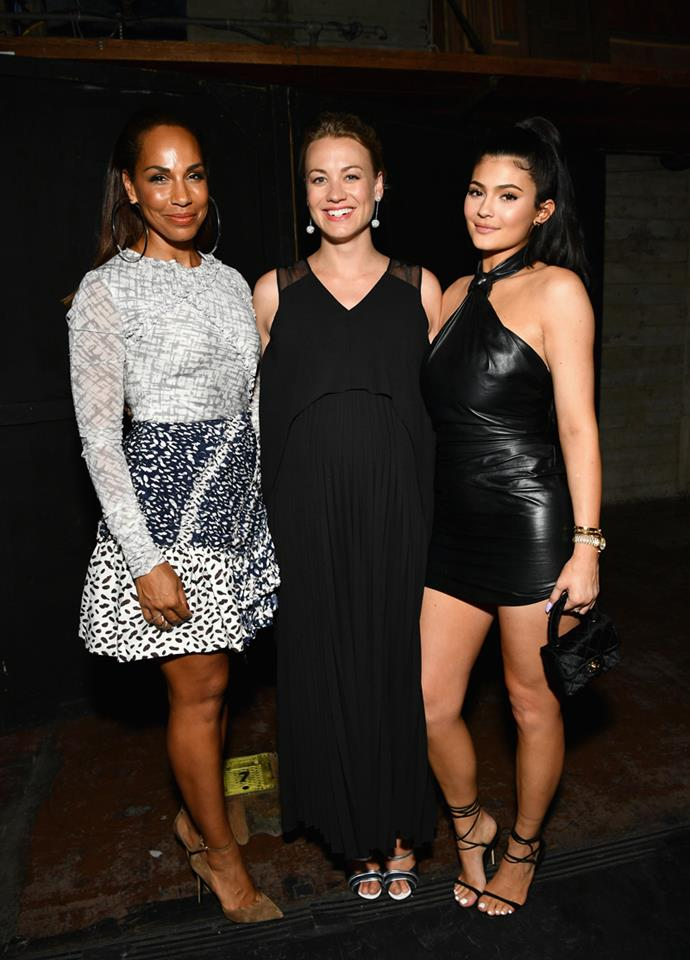 Amanda Brugel, Yvonne Strahovski and Kylie Jenner at *The Handmaid's Tale* Hulu finale at The Wilshire Ebell Theatre on 9 July, 2018 in Los Angeles.
