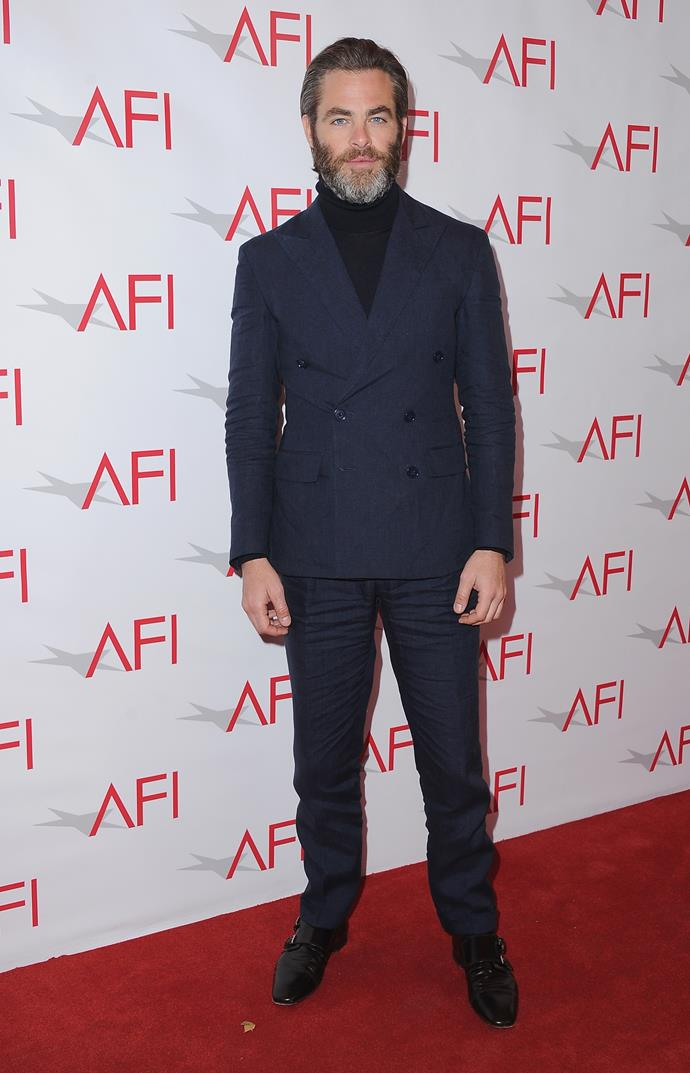 What do we keep telling you? Chris Pine doesn't do normal tuxes.