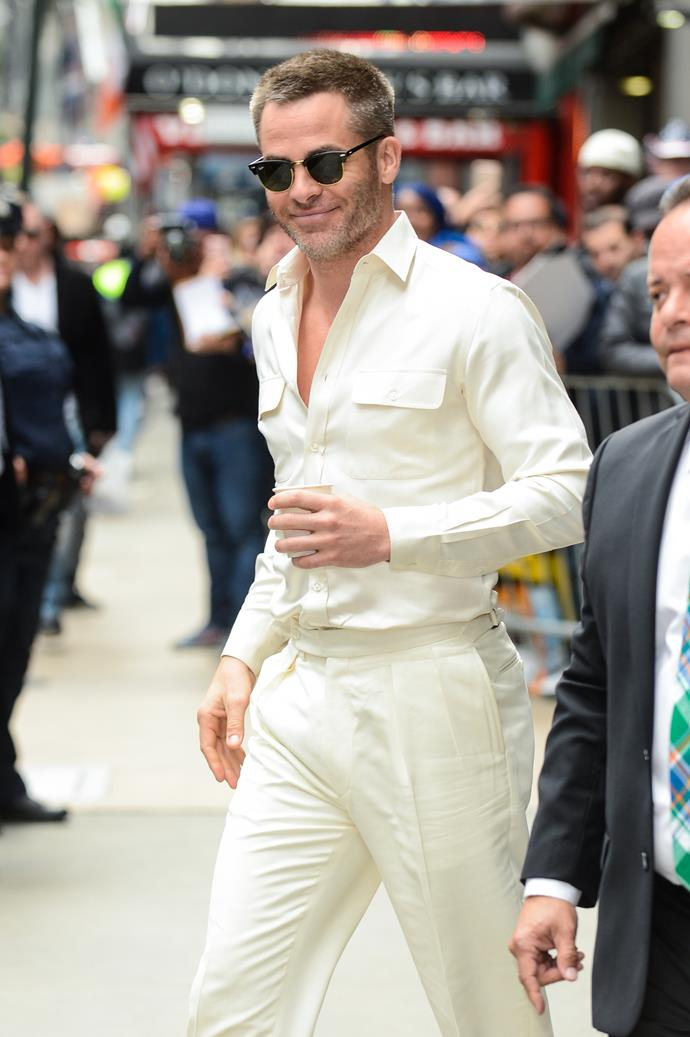 Dudes wearing white shirts? Sure. Dudes wearing white trousers? Maybe. Dudes wearing white shirts tucked into white trousers and RayBan Clubmasters like some sort of disco god? Only Chris Pine.