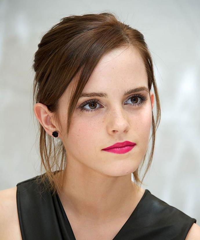 At the press conference for her standout role in<em> The Perks Of Being A Wallflower</em>, Emma looks classy and mature with hair scraped into a low bun. Emma's bright fuchsia lip gives the right pop of colour and youth to her black outfit.