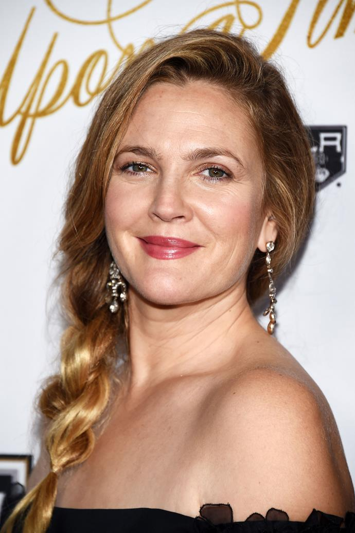 At an event in 2016, Barrymore walked the red carpet wearing a side braid and stained berry lip.