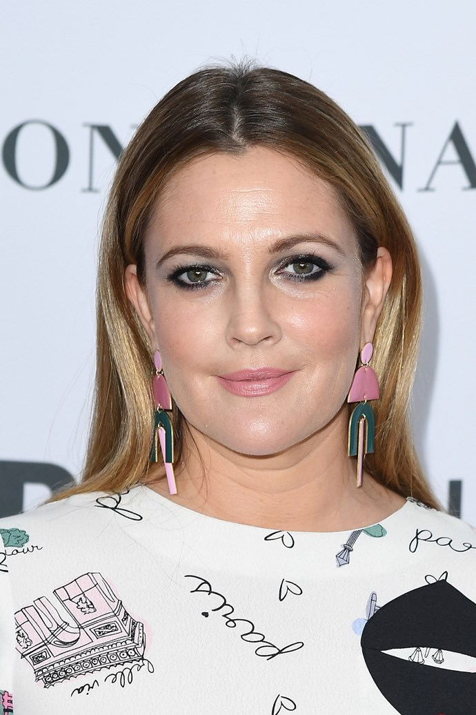 Barrymore sported a gunmetal smokey eye and nude lip at an event in 2017.