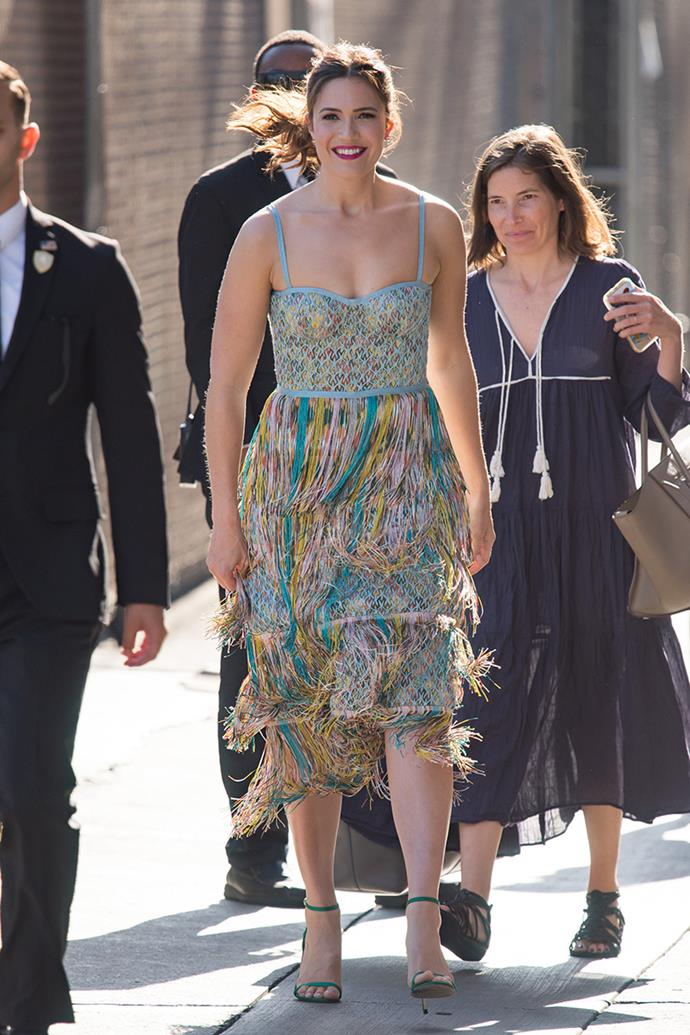 Wearing a technicolour fringed Missoni dress for a guest appearance on *Jimmy Kimmel Live!*