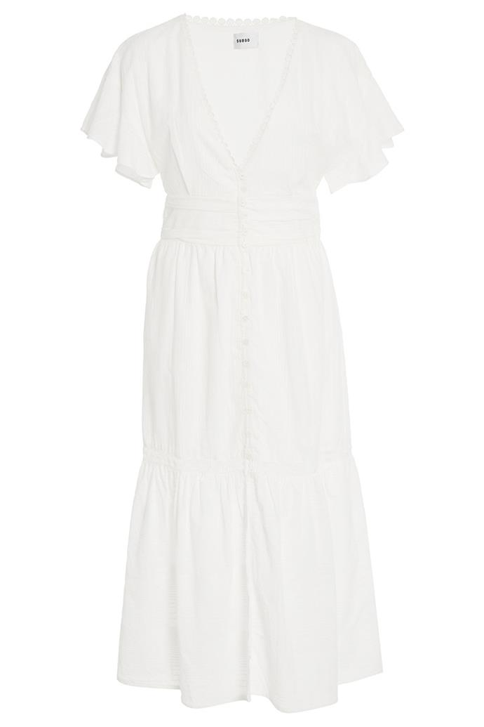 "Midi dress, $289, Suboo at [Moda Operandi](https://www.modaoperandi.com/suboo-r19/estelle-button-front-midi-dress|target=""_blank""|rel=""nofollow"")"