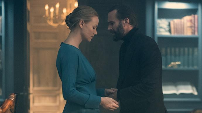 Yvonne Strahovski as Serena Waterford and Joseph Fiennes as Commander Fred Waterford.