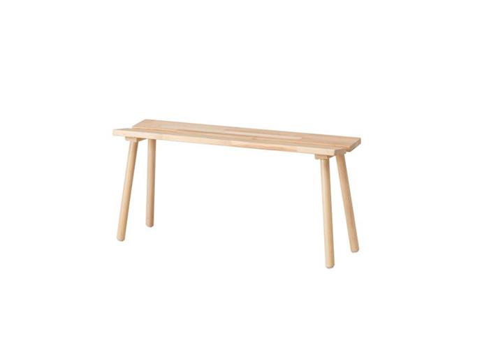 """**Alice Kohler, interior designer:** """"IKEA has a few lovely simple bench seats that are real multi-use winners.  I use them at the end of the bed, as a coffee table, as a hallway table...""""  *YPPERLIG bench, $55, at [IKEA](https://www.ikea.com/au/en/catalog/products/60346598/