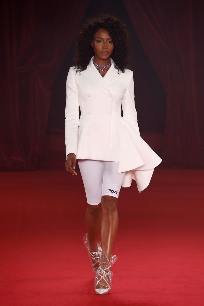 Naomi Campbell pioneered the 'bike shorts as formal wear' trend on the Off/White runway at Paris Fashion Week in 2017.  *Photo: Getty*