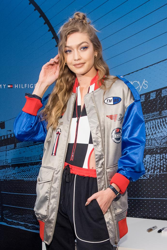 Gigi Hadid, wearing threads from her Tommy Hilfiger range, looks ready to tackle the Tour de France track.  *Photo: Getty*