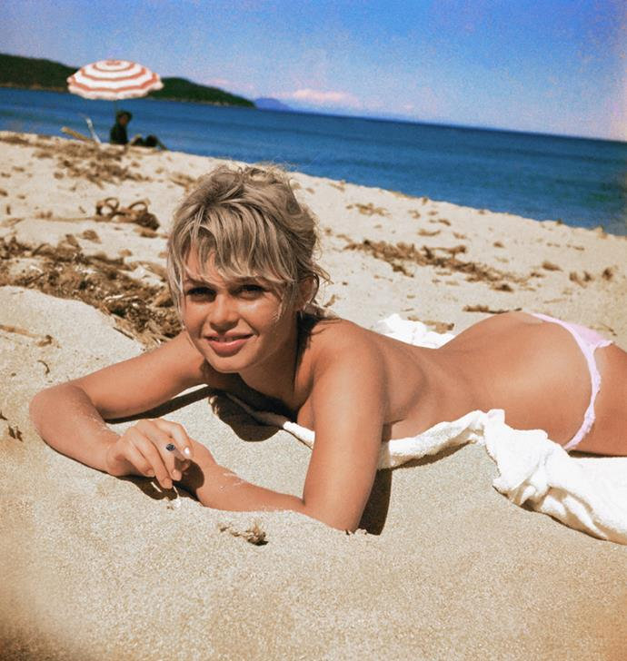 At the beach, circa. 1959