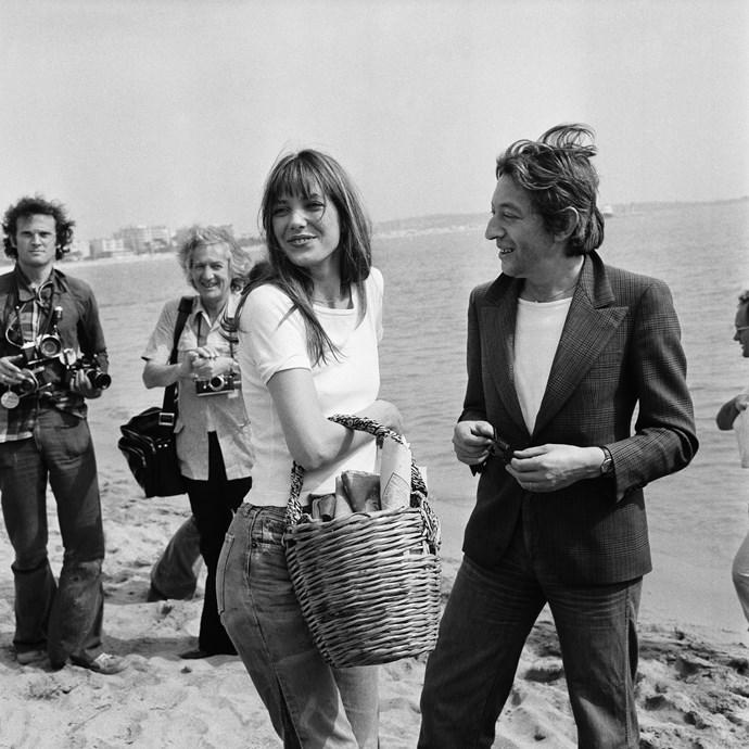 Championing the basket-as-a-handbag in 1974.