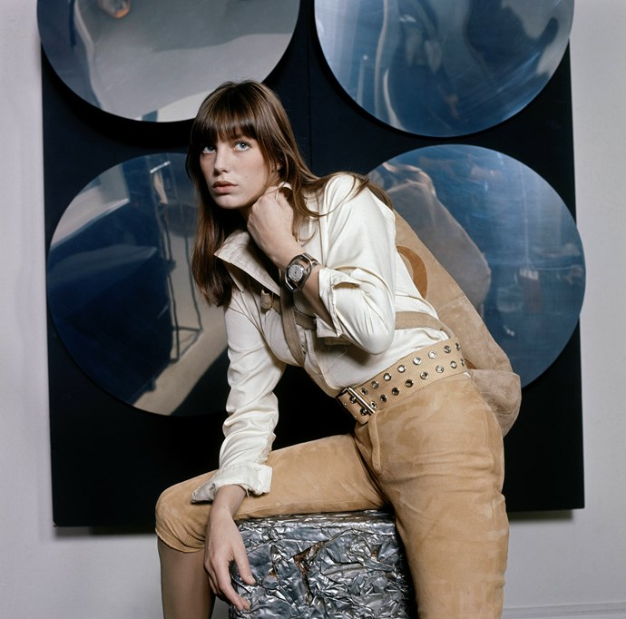 Suiting up in suede for *Vogue* in 1971.
