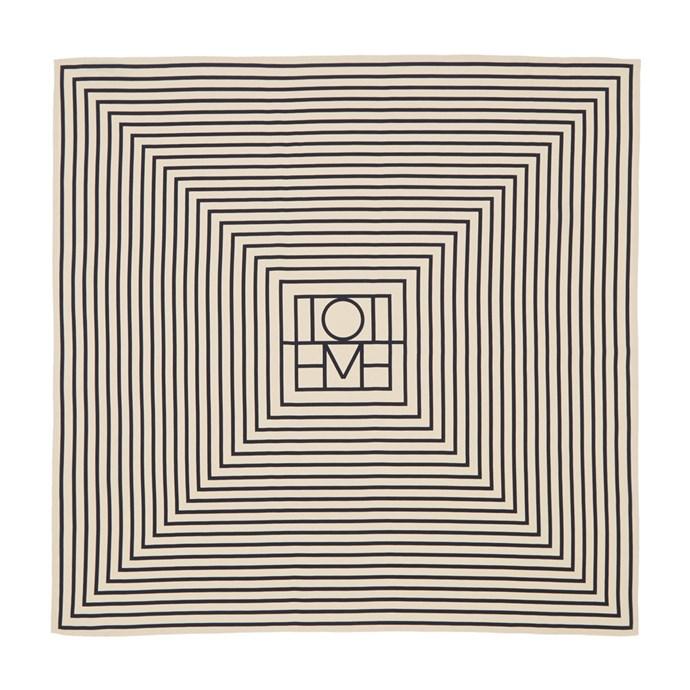 "Scarf by Totême, $265 at [Ssense](https://www.ssense.com/en-au/women/product/totme/off-white-and-black-san-remo-scarf/2944918|target=""_blank""|rel=""nofollow"")."