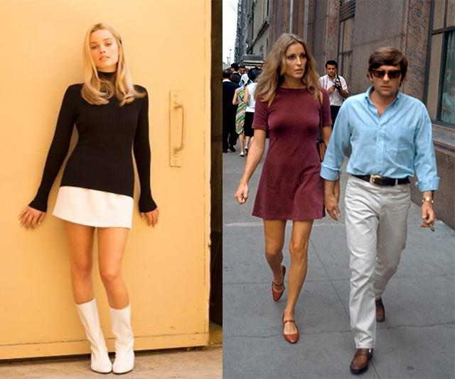 Margot Robbie as Sharon Tate (left) and Tate with husband Roman Polanski (right).