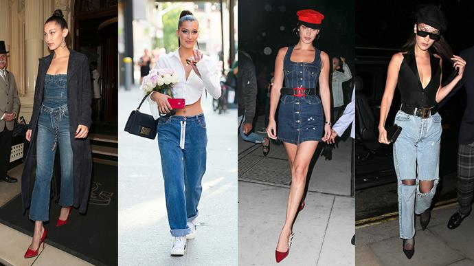 **Bella Hadid: Throwback** <br><br> The youngest Hadid sister loves to work a throwback into her denim styling, opting for vintage denim dresses, jumpsuits and low-rise baggy *Backstreet Boys* jeans.