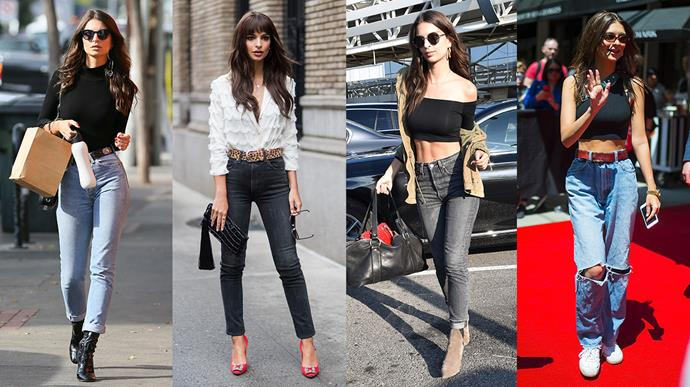 **Emily Ratajkowski: Variety** <br><br> It is so rare for Emrata to step out in the same style of jeans twice, so we're delighted to dub her the queen of keeping us on our toes with her personal denim collection.
