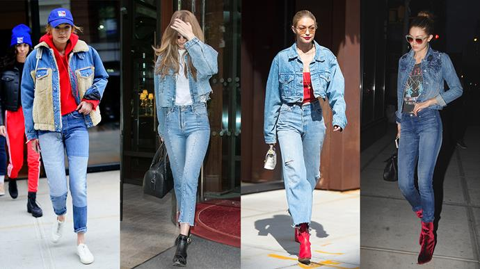 """**Gigi Hadid: Double denim** <br><br> Gigi Hadid has proven time and time again that she can pull off almost anything—including the age-old no-no, [double denim](https://www.elle.com.au/fashion/how-fashion-girls-do-double-denim-10025