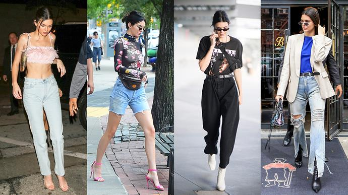 **Kendall Jenner: Vintage cut** <br><br> The model born into the world's most famous family has a tendency to opt for a classic, vintage pair of jeans over a tighter, modern cut. Jenner will almost always grab her nearest pair of 'mom jeans' for an off-duty outing.