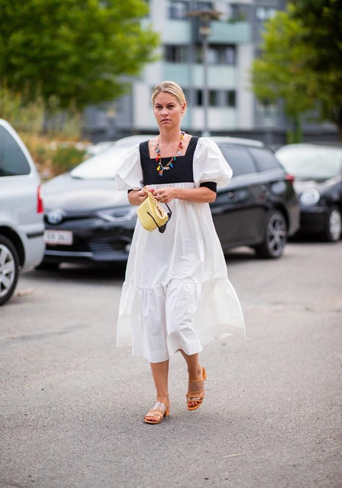 A guest outside Cecilie Bahnsen.