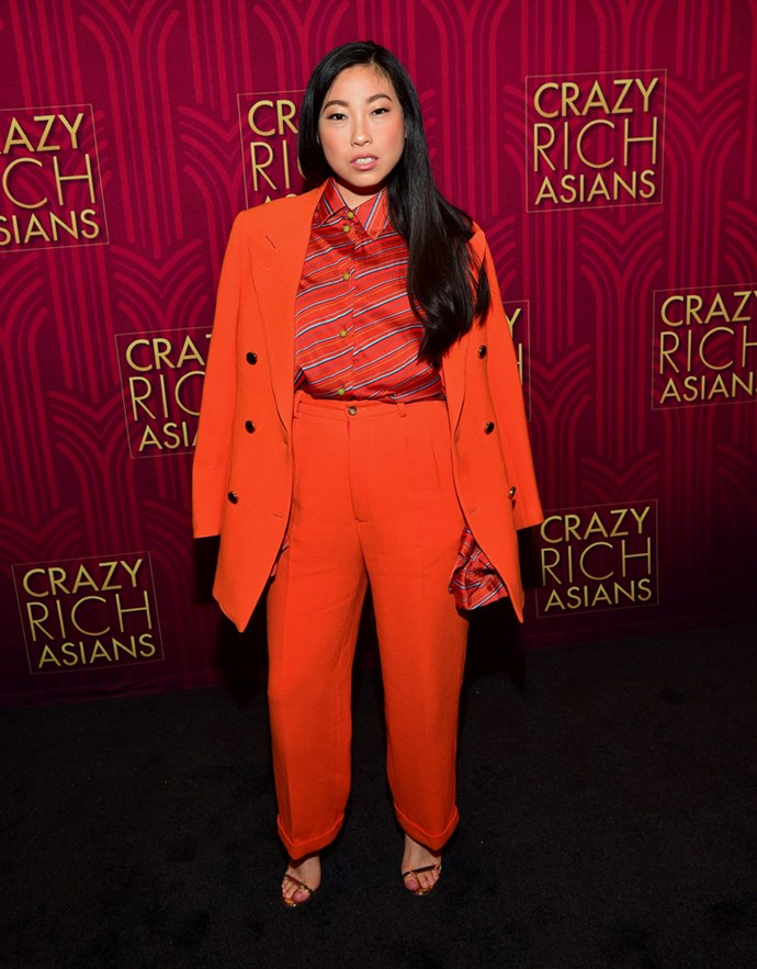 Awkwafina in Wolk Morais and Mulberry.