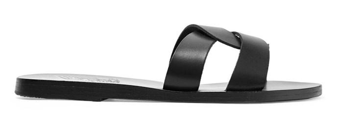 "Sandals by Ancient Greek Sandals, $270 at [Net-A-Porter](https://www.net-a-porter.com/au/en/product/1061730/ancient_greek_sandals/desmos-cutout-leather-slides|target=""_blank""|rel=""nofollow"")"