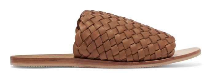 "Sandals, $200 (approx.) at [St Agni](https://www.st-agni.com/collections/footwear/products/keiko-double-strap-slides-tan|target=""_blank""